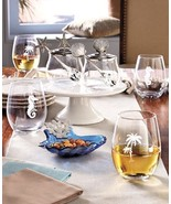Seaside Tabletop Collection Stemless Wine Glasses Condiment Set Ocean Be... - $15.83