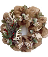 Deer Antlers Holiday Wreath With Iced Greenery Handmade Deco Mesh - $89.99