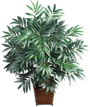 Nearly Natural 6556 Bamboo Palm with Wicker Basket Decorative Silk Plant... - $86.88