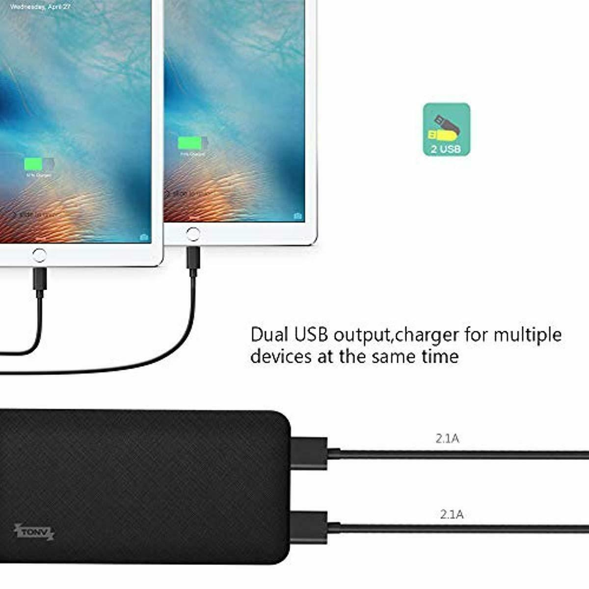 TONV Battery Changer Power Bank 10000mah Compatible with iPhone Ipad Samsung