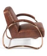 Steel Frame Top Grain Vuiton Vintage Brown Leather Chair,26'' x 32''H - $1,480.05