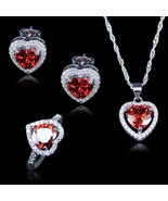Best Wedding Jewelry For Women/Lady Red Heart Created Garnet White Zirco... - $28.17