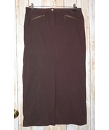 Womens Long Brown Worthington Flat Front Skirt Size 14 excellent - $6.92