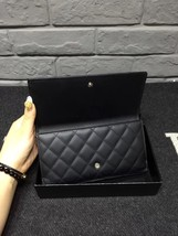 AUTHENTIC CHANEL Rue Cambon Black Hot Pink Lambskin Bi-Fold Wallet Clutch Bag image 3