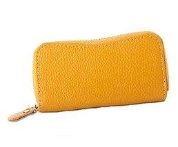 Multifunctional Key Bag Printing High Capacity Bending Zipper Key Case, Yellow