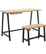 Calico Designs - Ashwood Homeroom Desk And Bench - Graphite/Ashwood - $286.84
