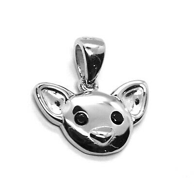 18K WHITE GOLD MINI PENDANT, CHIHUAHUA DOG, SMOOTH BLACK ZIRCONIA MADE IN ITALY