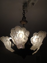 STUNNING RARE ESTATE FROSTED GLASS DECO CHANDELIER LAMP GENET ET MICHON ... - $3,712.50