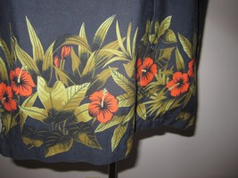 Vtg Sz M GAP Black Hawaiian Hibiscus Floral Border Aloha Camp Shirt All ... - $29.69