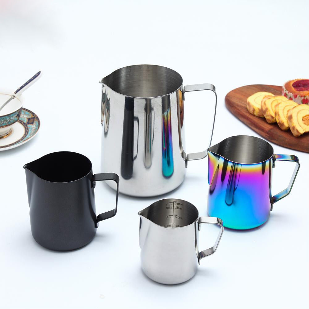 Milk Pitcher Frothing Cup Stainless Steel Coffee Jug Rainbow Espresso Latte Tea image 12