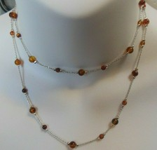 vintage Long MONET patented amber colored glass bead Silver-tone Chain necklace - $24.75