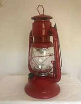 """11"""" Lighted Metal & Glass Lantern with Handle - Red Colored Finish NEW image 2"""