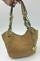 Michael Kors Purse Lillie Straw Gold Leather Chain Links Shoulder Bag Hobo - $39.59