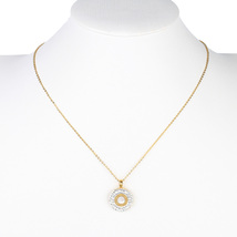 UE-Gold Tone Designer Necklace With Circular Pendant & Swarovski Style Crystals  - $23.99