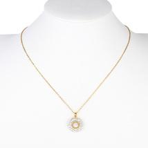 UE-Gold Tone Designer Necklace With Circular Pendant & Swarovski Style C... - $22.99