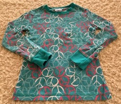 Cherokee Girls Teal Pink White Peace Signs Thermal Long Sleeve Shirt 6 - $5.95