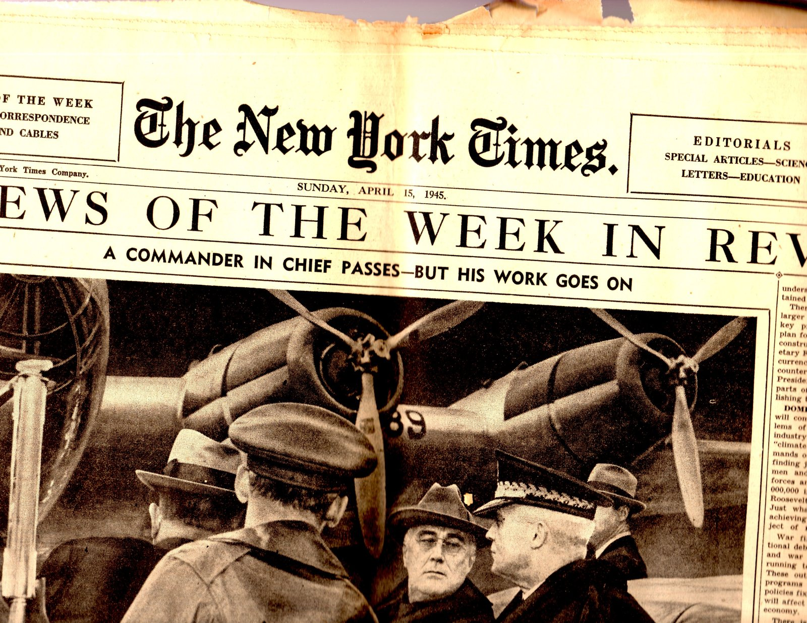 Primary image for New York Times, Sunday, April 15,1945 Section 4 The News of the Week In Review
