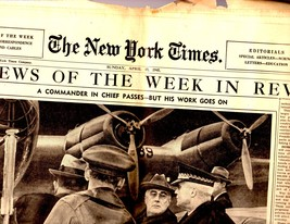 New York Times, Sunday, April 15,1945 Section 4 The News of the Week In ... - $3.00