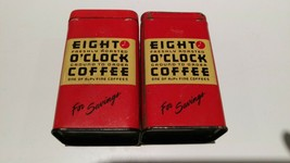 Eight O'Clock Coffee for Savings - 2 Metal Banks Tin - $14.85