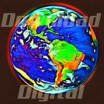 Digital download globe Earth planet countries cute Wallpaper Painting Wa... - $5.00