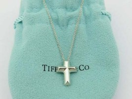 Authentic TIFFANY & CO Sterling Silver Tenderness Heart Cross Pendant Necklace - $97.43