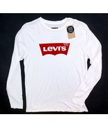 NEW LEVI'S WHITE LONG SLEEVE LOGO GRAPHIC COTTON TEE T-SHIRT SIZE L IMPE... - $19.79