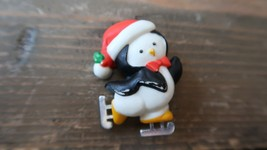 "Vintage 1.75"" Christmas Ice Skating Penguin Lapel Pin - $11.87"