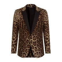 Leopard Print Leather Men Blazer
