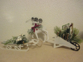 Mixed lot of 3 Christmas Ornaments Sled, Reindeer and Wheelbarrow - $4.99