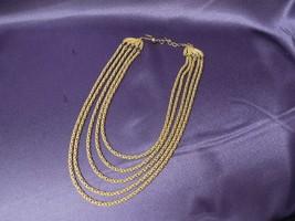 Vintage TRIFARI Designer Brushed Gold-Tone Multi Strand Necklace - $66.83