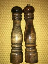 "Vintage 9"" wood wooden pepper grinder mill salt shaker MCM country farmh... - $26.60"