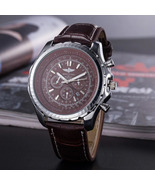 Luxury Men's Quartz Watch in Stainless Steel and Leather Strap in Brown ... - $53.20