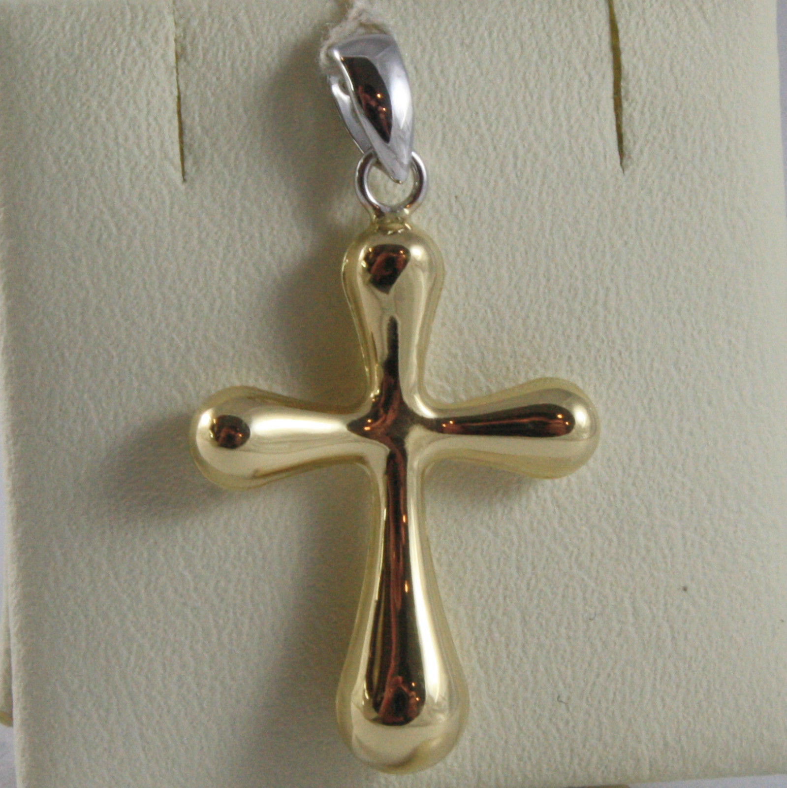 SOLID 18K WHITE & YELLOW GOLD CROSS, SHINY, STYLISH ROUNDED 1.18, MADE IN ITALY