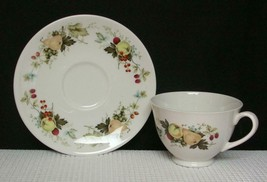 """MIRAMONT"" TC1022 Royal Doulton FOOTED CUP & SAUCER Bone China Fruit - $6.19"