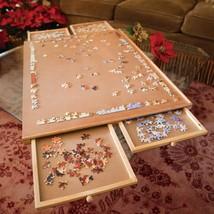 Jigsaw Puzzle Table Organizer System Jumbo Size Wooden Plateau Storage w... - $104.93
