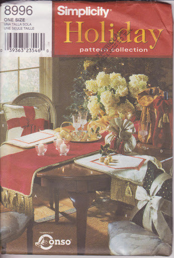Holiday Collection Simplicity 8996 Thanksgiving Runner Place Mats Sewing Pattern