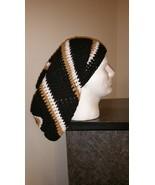 Handmade Crochet Slouchy (Black, White & Gold)  - $27.00