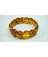 Estate Genuine Amber Beads Vintage Stretch Bracelet - $49.99