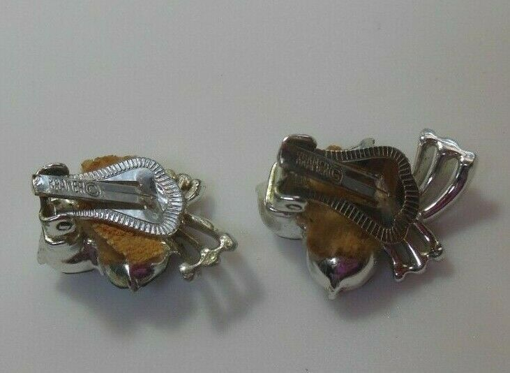 Vintage Signed Kramer Silver-tone AB Rhinestone Clip-on Earrings