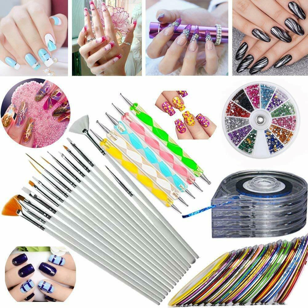 JOYJULY Nail Art Kit includes 30 Striping tape & 4Pcs Striping Roller Box & 12
