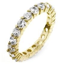 4ct Brillant Rond Simulé Diamants Éternité Anneau de Mariage 14K Y Or - £127.38 GBP