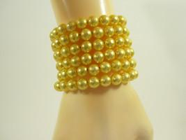 SUNNY LEMON YELLOW Faux Pearl Beads Wrap Bracelet Summer Spring Vintage ... - $14.84