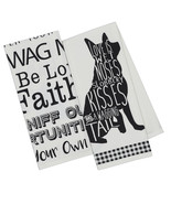 Dogs Dish Towel Set of 2 Love Is Wet Noses Slobbery Kisses Wagging Tail ... - $19.79