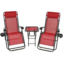Folding Beach Chairs with Side Table Set of Two Red Stylish Camping Picn... - $167.16