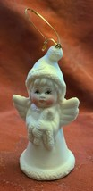 "Angel Holding Candy Cane Ornament Inches Bisque Porcelain 4"" image 1"