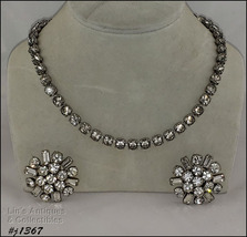Vintage Clear Rhinestones Necklace and Earrings (#J1367) - $48.00