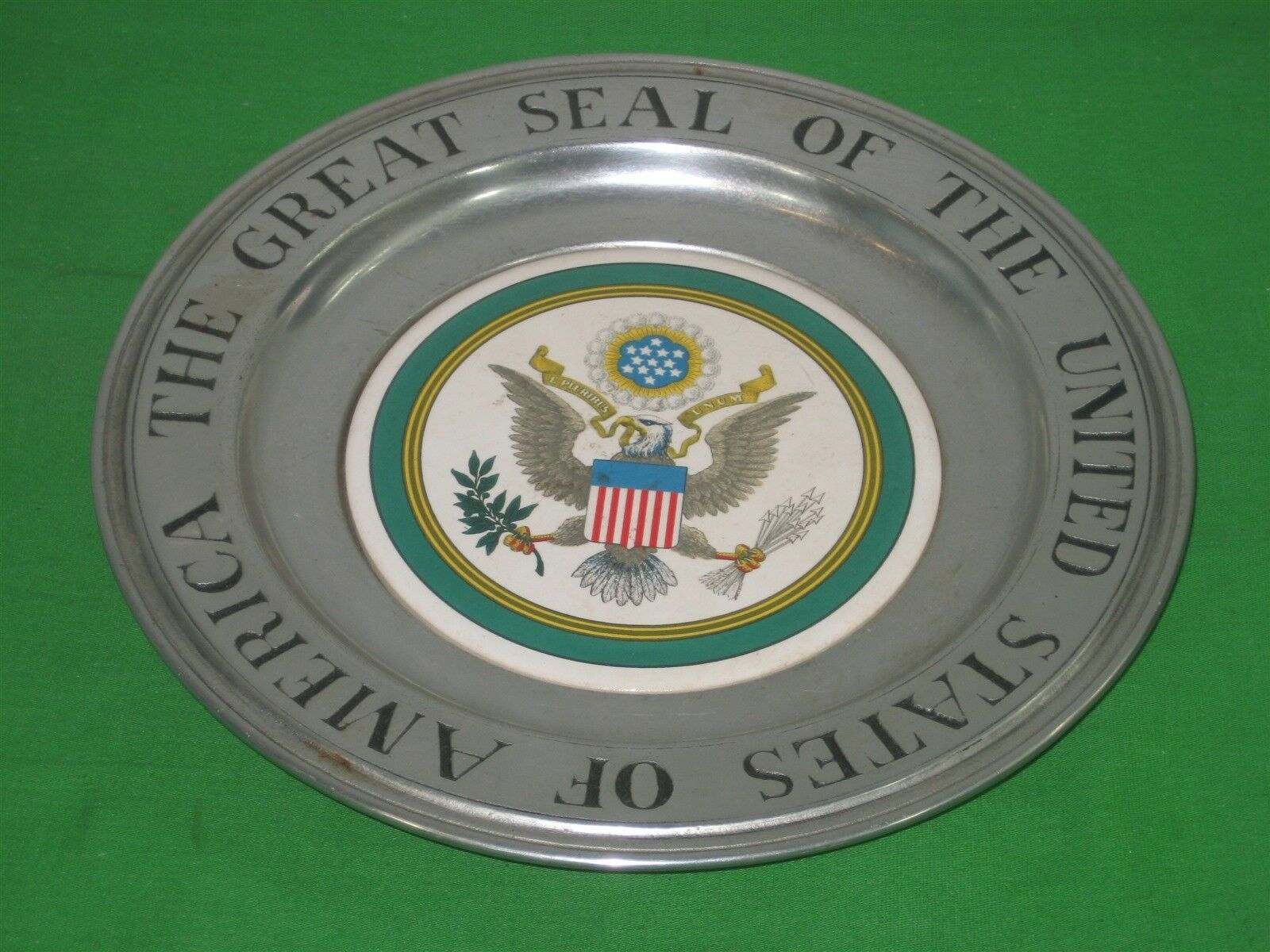 Primary image for Vintage Wilton Armetale RWP Plate The Great Seal Of The United States Of America