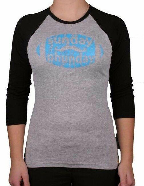 Team Phun Womens Gray Blue Sunday phun Fun Day American Football Raglan Shirt NW
