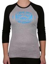 Team Phun Womens Gray Blue Sunday phun Fun Day American Football Raglan Shirt NW image 1