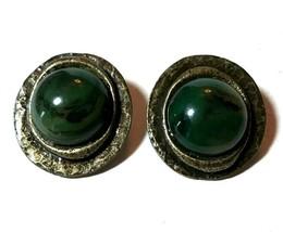 VINTAGE ELLEN DESIGNS JADE COLORED GREEN GLASS CLIP ON EARRINGS - $40.00